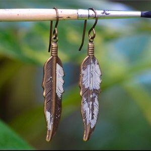 Jewelry - BOHO Feather Brass Earrings